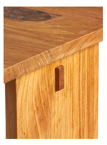 custom made elm wood night stand detail