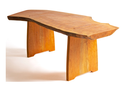natural form custom design reclaimed local cherry wood table