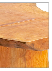 custom design cherry table natural form top detail