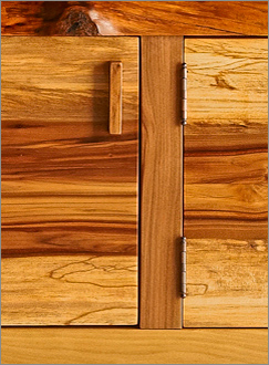 red gum wood cabinet handle and hinge detail