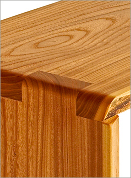 siberian elm wood bench table grain and joint detail