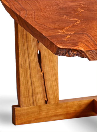 custom built catalpa wood conference table natural edge detail