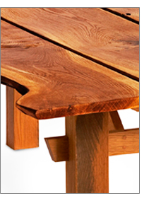 natural edge detail of white oak table from storm crafted from damaged wood
