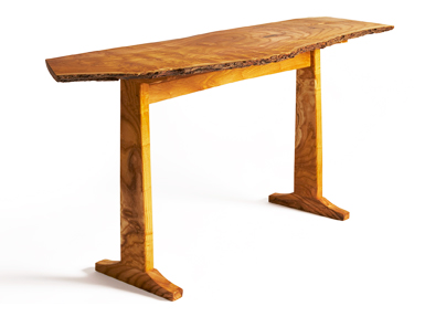 reclaimed mulberry wood hall table natural edge