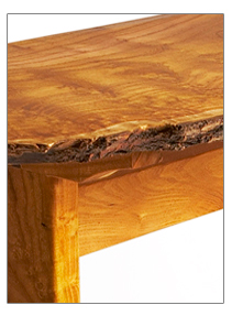 reclaimed mulberry wood hall table detail